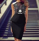 Gorgeous Black White Lace Peplum Cocktail Evening Formal Womens Dress Size 8-12