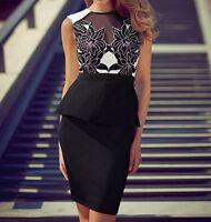 Gorgeous Black White Lace Peplum Cocktail Evening Formal Womens Dress Size 8-12