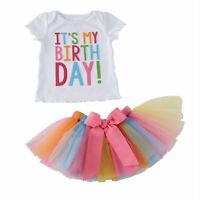 Toddler Kids Baby Girls Outfit Clothes Birthday T-shirt Tops+Tutu Skirt 2PCS Set