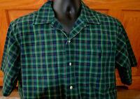 Polo Ralph Lauren Plaid Button front Shirt Adams Mens Medium s/s Green Navy L27
