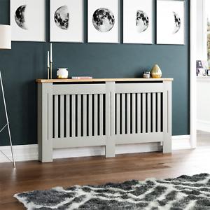 Arlington Radiator Cover Modern Grey Grill Cabinet Wood Shelf MDF Slats Large