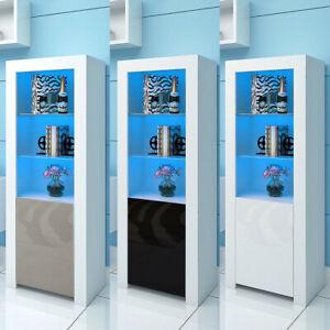 Modern Sideboard Cupboard High Gloss Door Cabinet Tall Display Unit LED Lights