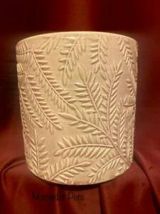 Salmon Pink Leaf Relief Ceramic Planter Pot