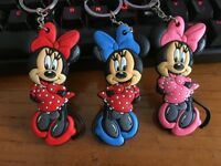 3pcs minnie bowknot head silica gel key chain key chains action key ring anime