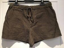 Vince Shorts Army Green Utility Linen Shorts Drawstring Pockets S Small New NWT