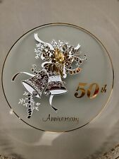 "50TH ANNIVERSARY Glass 11.5"" Round Serving Platter Plate GOLD TRIMMED Bells"