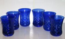 6 x Bohemian Cobalt Blue Cut to Clear Small Glass Waisted Tumblers