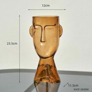 Abstract Face Glass Vase Transparent Human Head Flowers Home Decoration Room Pot