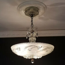 929 Vintage 40s  arT DEco Ceiling Light Lamp Fixture Chandelier 1 of 2