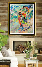LeRoy NEIMAN Serigraph Large Original Color Artwork Skiing Twins HAND SIGNED SBO