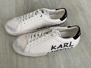 Karl Lagerfeld SKOOL Brush Logo Sneakers Leather Trainers White Uk 4 Eu 37 NEW