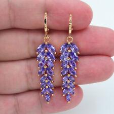 18K Yellow Gold Filled Women Royal Purple Topaz Leaf Dangle Earrings Jewelry