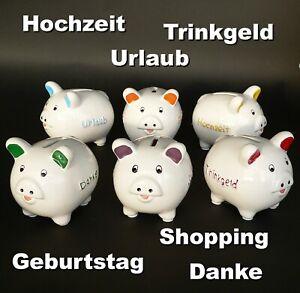 XL-AUSWAHL Sparschwein 9,5cm Hochzeit Geburtstag Urlaub Danke Trinkgeld Shopping