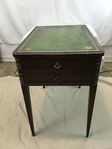 Vtg Antique Distressed Wood Single Drawr Green Leather Top Night Stand End Table