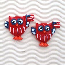 "10 pcs x 1.25"" Resin Hoot Hooray Patriotic Owl Flatbacks w/USA Flag  SB602A"