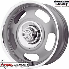 20' STAGGERED GRAY AMERICAN RACING VN506 RALLY WHEELS & CAPS CHEVY GMC 5x5 TRUCK