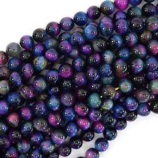 Galaxy Blue Pink Purple Tiger Eye Round Beads 15.5