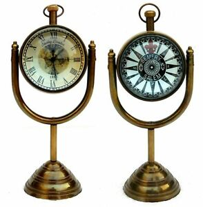 Marine Brass Table Clock Nautical Stand Desk Watch Antique Finish Home Decor