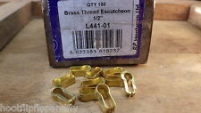 "10 SOLID BRASS KNOCK IN ESCUTCHEONS THREAD DRAWER CABINET RESTORE 1/2"" l441-01"