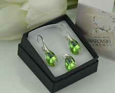 925 STERLING SILVER EARRINGS/SET MADE WITH SWAROVSKI 16mm PEAR - PERIDOT AB