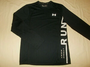 UNDER ARMOUR LONG SLEEVE BLACK REFLECTIVE FITTED RUNNING SHIRT MENS MEDIUM EXC.