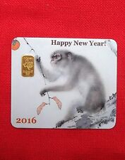 2 gram GOLD TGR 999 BULLION Limited Year of the Monkey Gold Bar Sealed In A$$ay