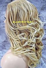 "25"" Long Wavy Layered Blonde Mix Full Lace Front Wig Heat Ok Hair Piece #T27/613"