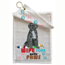 """Portuguese Water Dog Paw-Wipe Towel 11"""" x 18"""" Grommet with Hook"""