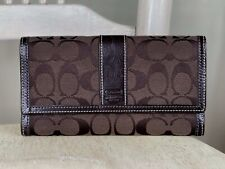 COACH Brown Signature Stripe Canvas Logo Leather Trifold Wallet Clutch Organizer