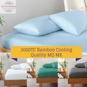2000TC Bamboo Cooling FITTED Sheet Set HypoAllergenic Breathable Ramesses Sheets