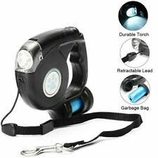 Pet Dog Retractable Extendable Leash Lead 4.5m with LED Flashlight & Garbage Bag