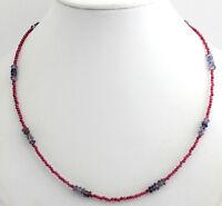 Granat und Iolith Kette Edelsteinkette Rot-Blau Kugel Collier halskette 46 cm