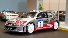 AutoArt SLOT Car 1:32 PEUGEOT 206 WRC Silver Lighting Lamps NEW Scalextric