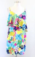 J Crew Colorful Abstract Floral Print Ruffle Front Cami Dress Size 6 V Neck