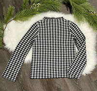 Ann Taylor Womens Sweater Size XS Wool Blend Houndstooth Mock Neck Black Ivory