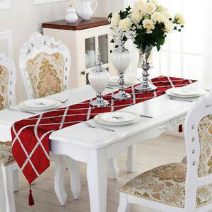 Velvet Table Runner Luxury Sequin Rectangular Tablecloth Flag Home Table Decor