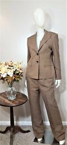 LE SUIT Brown Textured 2-Piece Business Pant Suit-Size 10