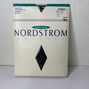 Nordstrom Lycra Sheer Control Top Sandal Toe Style 175 Size C Olive Hosiery NIP