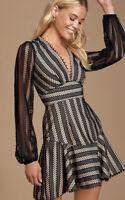 Lulu's Night Muse Black Lace Long Sleeve Skater Dress Sz XS NEW NWT $78