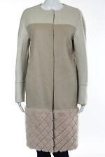 Fendi Beige Pink Cashmere Color Blocked Mink Fur Contrast Coat Size IT 40