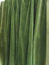 More details for vintage large piece of moss green 100% cotton velvet fabric 65