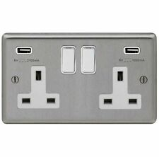 BRUSHED STAINLESS STEEL DOUBLE SOCKET + 2 X USB CHARGING OUTLET WITH WHITE TRIM