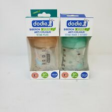 x2 NEW Dodie Wide-Neck 3 Speed Glass Baby Bottles 5 Ounce 2 Count BPA Free 150ml