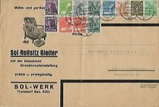 1948 German Furniture Co Commercial Cover -Cologne Germany Local Use (12 Stamps)
