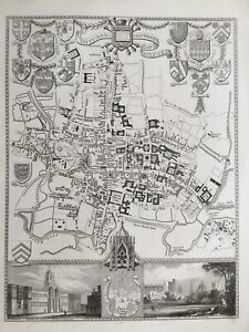 1841 Antique Map; City and University of Oxford by Thomas Moule