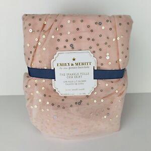 Pottery Barn Emily Meritt Sparkle Tulle Crib Skirt Blush Pink Gold Sequin New
