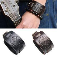 Punk Men Women Wide Genuine Leather Belt Cuff Wristband Bracelet Bangle Jewelry