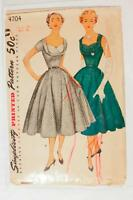 Simplicity 4704 Vtg 1950s Dress Sewing Pattern Shelf Bust 32 Full Skirt Wedding