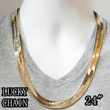 """14K GOLD PLATED HIPHOP HERRINGBONE CHAIN NECKLACE(JUMBO SIZE)(24""""x 15mm)99g A21"""