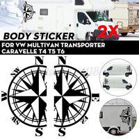 2x Autocollant latéraux Sticker Boussole pour VW Transporter Caravelle T4 T5
